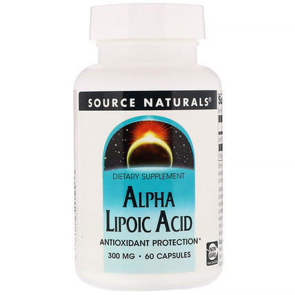 Alpha Lipoic Acid, 300 mg, 60 Capsules by Source Naturals, 補充劑,抗氧化劑,α硫辛酸,α硫辛酸300毫克 HK 香港
