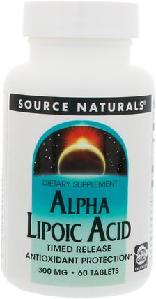 Alpha Lipoic Acid, Timed Release, 300 mg, 60 Tablets by Source Naturals, α硫辛酸,α硫辛酸300毫克,補充劑,抗氧化劑 HK 香港