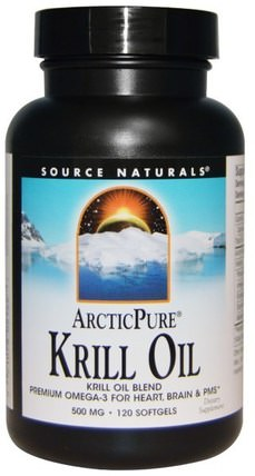 Arctic Pure, Krill Oil, 500 mg, 120 Softgels by Source Naturals, 補充劑,efa omega 3 6 9(epa dha),魚油,磷蝦油 HK 香港