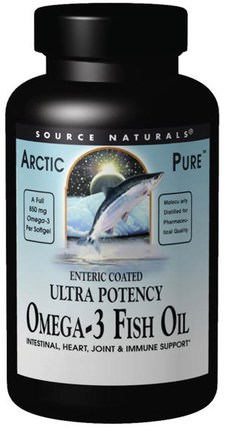 Arctic Pure, Ultra Potency, Omega-3 Fish Oil, 850 mg, 120 Softgels by Source Naturals, 補充劑,efa omega 3 6 9(epa dha),魚油 HK 香港