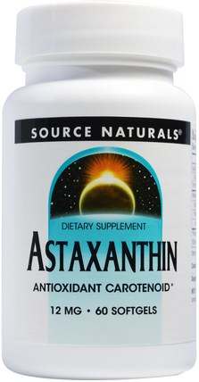 Astaxanthin, 12 mg, 60 Softgels by Source Naturals, 補充劑,抗氧化劑,蝦青素 HK 香港