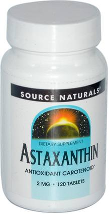 Astaxanthin, 2 mg, 120 Tablets by Source Naturals, 補充劑,抗氧化劑,蝦青素 HK 香港