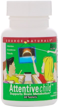 Attentive Child, 60 Tablets by Source Naturals, 健康,注意力缺陷障礙,添加,adhd,腦 HK 香港
