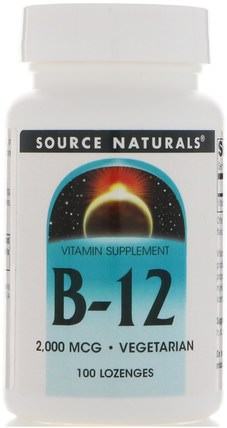 B-12, Sublingual, 2.000 mcg, 100 Tablets by Source Naturals, 維生素,維生素b12,維生素b12 - cyanocobalamin HK 香港