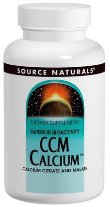 CCM Calcium, 300 mg, 120 Tablets by Source Naturals, 補品,礦物質,蘋果酸鈣 HK 香港