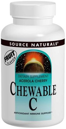 Source Naturals, Chewable C, Acerola Cherry, 500 mg, 250 Tablets 維生素,維生素C咀嚼