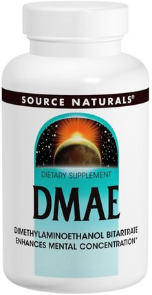DMAE, 351 mg, 200 Tablets by Source Naturals, 補充劑,dmae液體和標籤 HK 香港