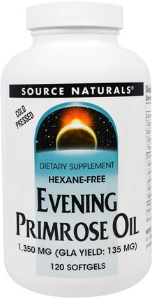 Evening Primrose Oil, 1.350 mg, 120 Softgels by Source Naturals, 補充劑,efa omega 3 6 9(epa dha),月見草油 HK 香港