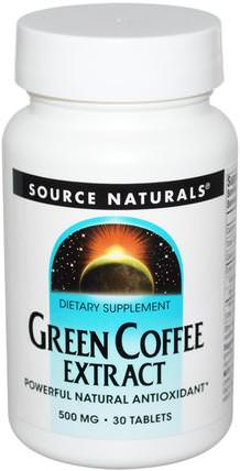 Green Coffee Extract, 500 mg, 30 Tablets by Source Naturals, 補充劑,抗氧化劑,綠咖啡豆提取物 HK 香港