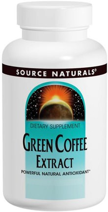 Green Coffee Extract, 500 mg, 60 Tablets by Source Naturals, 補充劑,抗氧化劑,綠咖啡豆提取物 HK 香港