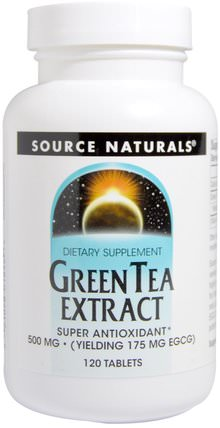 Green Tea Extract, 500 mg, 120 Tablets by Source Naturals, 補充劑,抗氧化劑,綠茶,草藥,egcg HK 香港