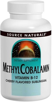 MethylCobalamin, Cherry Flavored, 1 mg, 120 BioLingual Lozenges by Source Naturals, 維生素,維生素b12,維生素b12 - 甲基鈷胺素 HK 香港