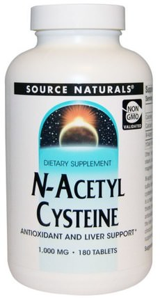 N-Acetyl Cysteine, 1.000 mg, 180 Tablets by Source Naturals, 補充劑,抗氧化劑,抗氧化劑 HK 香港