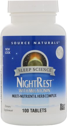 NightRest, with Melatonin, 100 Tablets by Source Naturals, 補充劑,睡眠,褪黑激素 HK 香港