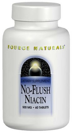 No-Flush Niacin, 500 mg, 60 Tablets by Source Naturals, 維生素,維生素B,維生素b3,維生素b3 - 菸酸沖洗 HK 香港