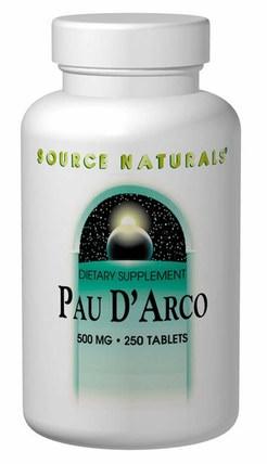 Pau DArco, 500 mg, 250 Tablets by Source Naturals, 草藥,保羅達爾科 HK 香港