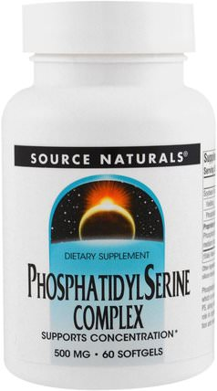 Phosphatidyl Serine Complex, 500 mg, 60 Softgels by Source Naturals, 補充劑,磷脂酰絲氨酸,注意力缺陷症,添加劑,adhd HK 香港