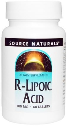R-Lipoic Acid, 100 mg, 60 Tablets by Source Naturals, 補充劑,抗氧化劑,α硫辛酸,硫辛酸 HK 香港