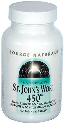 St. Johns Wort 450, 450 mg, 180 Tablets by Source Naturals, 草藥,聖。約翰斯麥汁 HK 香港