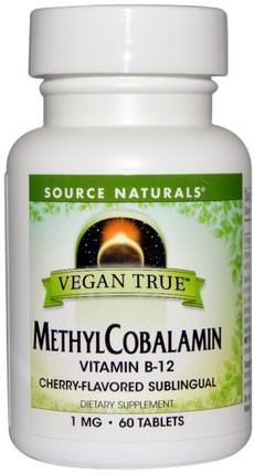 Vegan True, MethylCobalamin, Cherry Flavor, 1 mg, 60 Sublingual Tablets by Source Naturals, 維生素,維生素b,維生素b12,維生素b12 - 甲基鈷胺素 HK 香港