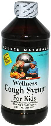 Wellness Cough Syrup For Kids, Great Cherry Taste, 8 fl oz (236 ml) by Source Naturals, 兒童健康,感冒感冒咳嗽,感冒流感和病毒,保健配方產品 HK 香港