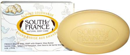 Almond Gourmande, French Milled Oval Soap with Organic Shea Butter, 6 oz (170 g) by South of France, 洗澡,美容,肥皂,乳木果油 HK 香港