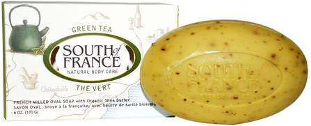 Green Tea, French Milled Bar Oval Soap with Organic Shea Butter, 6 oz (170 g) by South of France, 洗澡,美容,肥皂,乳木果油 HK 香港