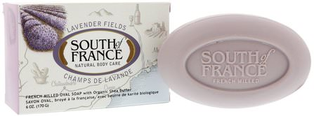 Lavender Fields, French Milled Oval Soap with Organic Shea Butter, 6 oz (170 g) by South of France, 洗澡,美容,肥皂,乳木果油 HK 香港
