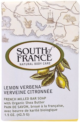 Lemon Verbena, French Milled Bar Soap with Organic Shea Butter, 1.5 oz (42.5 g) by South of France, 洗澡,美容,肥皂,乳木果油 HK 香港