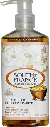 Shea Butter, Hand Wash with Soothing Aloe Vera, 8 oz (236 ml) by South of France, 洗澡,美容,肥皂 HK 香港
