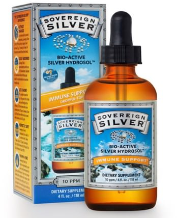 Bio-Active Silver Hydrosol Dropper-Top, 10 PPM, 4 fl oz (118 ml) by Sovereign Silver, 補充劑,膠體銀,礦物質,液體礦物質,銀水溶膠 HK 香港