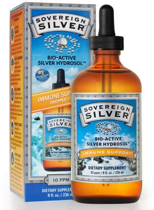 Bio-Active Silver Hydrosol Dropper-Top, 10 PPM, 8 fl oz (236 ml) by Sovereign Silver, 補充劑,膠體銀,礦物質,液體礦物質,銀水溶膠 HK 香港