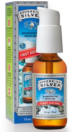 Silver, First Aid Gel, 1 fl oz (29 ml) by Sovereign Silver, 補充劑,膠體銀,傷害燒傷 HK 香港