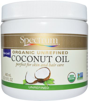 Organic Unrefined Coconut Oil, 15 fl oz (443 ml) by Spectrum Essentials, 食物,酮友好,椰子油皮 HK 香港