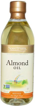 Almond Oil, Refined, 16 fl oz (473 ml) by Spectrum Naturals, 食物,食用油酒醋,杏仁油 HK 香港