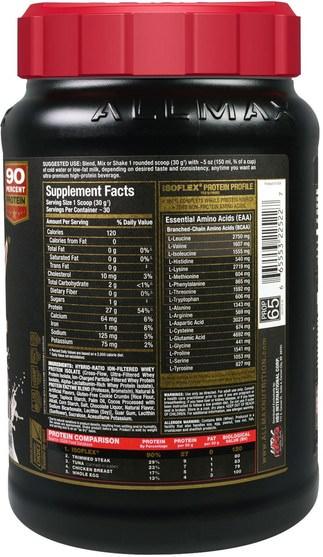 體育 - ALLMAX Nutrition, Isoflex, 100% Ultra-Pure Whey Protein Isolate (WPI Ion-Charged Particle Filtration), Cookies & Cream, 2 lbs (907 g)