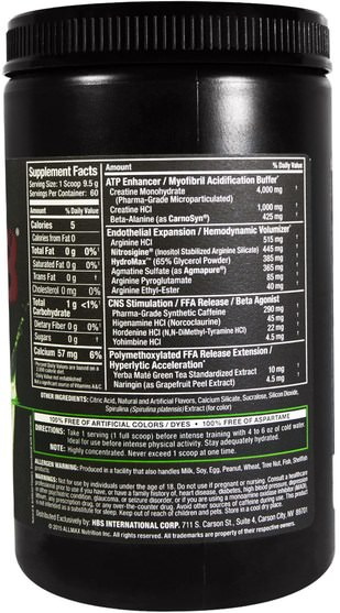 運動,肌酸 - ALLMAX Nutrition, Razor 8, Pre-Workout Energy Drink with Yohimbine, Key Lime Cherry, 20.11 oz (570 g)