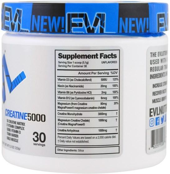 運動,肌酸粉,運動 - EVLution Nutrition, Creatine5000, 5.3 oz (153 g)
