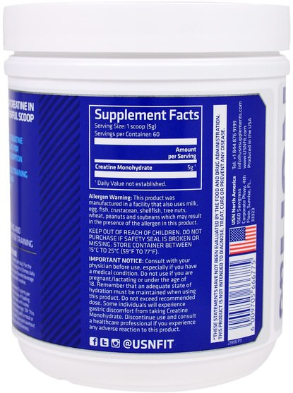 運動,肌酸粉,鍛煉 - USN, Pure Creatine, Monohydrate Powder, Unflavored, 10.58 oz (300 g)