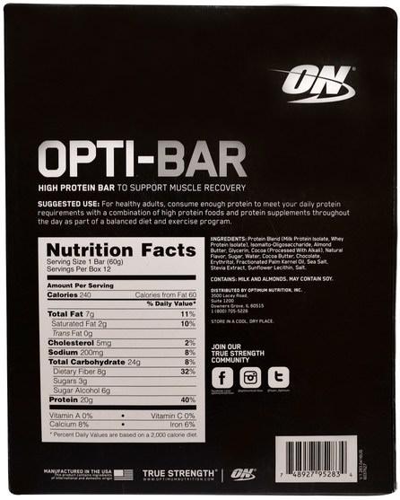 體育 - Optimum Nutrition, Opti-Bar High Protein Bar, Chocolate Brownie, 12 Bars, 2.1 oz (60 g) Each