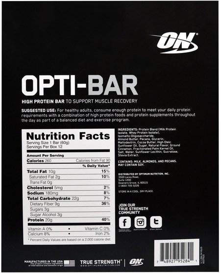體育 - Optimum Nutrition, Opti-Bar High Protein Bar, Cinnamon Pecan, 12 Bars, 2.1 oz (60 g) Each