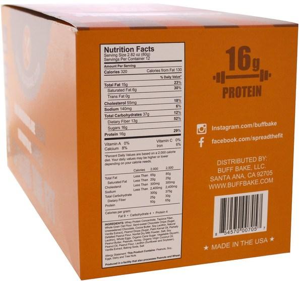 運動,蛋白質棒 - Buff Bake, Protein Cookie, Peanut Butter Cup, 12 Cookies, 2.82 oz (80 g) Each