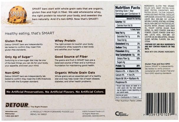 運動,蛋白質棒 - Detour, Gluten Free Oatmeal Bar, Cookie Dough, 9 Bars, 1.3 oz (38 g) Each