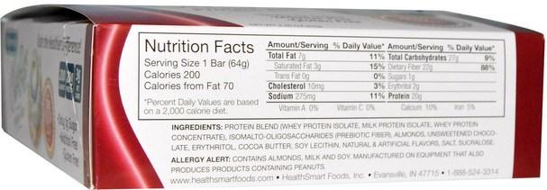 熱敏產品,運動,蛋白棒 - HealthSmart Foods, ChocoRite Protein Bar, Cinnamon Bun, 12 Bars, 2.26 oz (64 g) Each