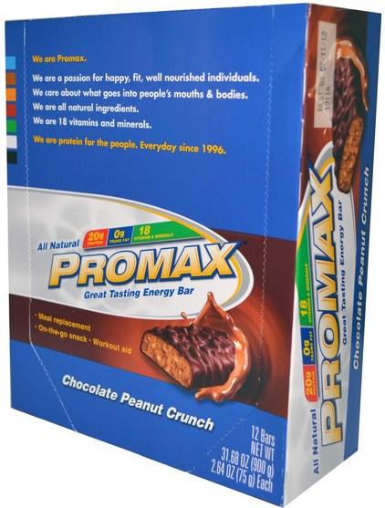 運動,蛋白質棒,代餐奶昔 - Promax Nutrition, Energy Bars, Chocolate Peanut Crunch, 12 Bars, 2.64 oz (75 g) Each