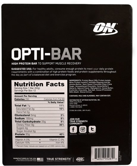 運動,蛋白質棒,最佳營養 - Optimum Nutrition, Opti-Bar High Protein Bar, Chocolate Chip Cookie Dough, 12 Bars - 2.1 oz (60 g) Each