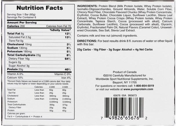 運動,蛋白質棒 - Pure Protein, Plus Bar, Mocha Brownie, 6 Bars, 2.11 oz (60 g)