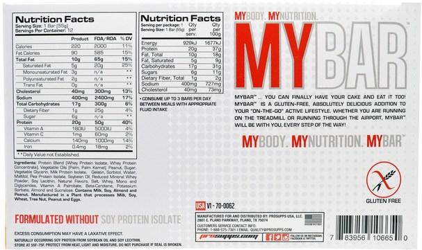 運動,蛋白質棒,小吃,健康零食 - ProSupps, My Bar, Peanut Butter Crunch, 12 Bars, 11.64 oz (330 g)