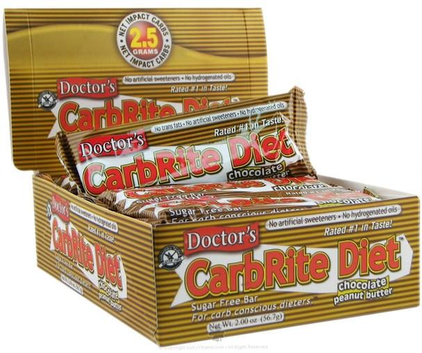 運動,蛋白質棒 - Universal Nutrition, Doctors CarbRite Diet Bar, Chocolate Peanut Butter, 12 Bars, 2.00 oz (56.7 g) Each