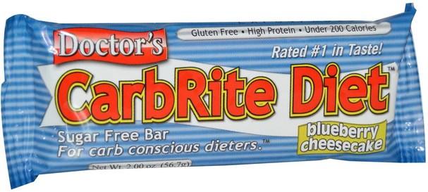 運動,蛋白質棒 - Universal Nutrition, Doctors CarbRite Diet, Blueberry Cheesecake, 12 Bars, 2.00 oz (56.7 g) Each